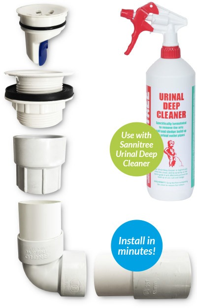 Freeflow Urinal System With Sannitree Urinal Deep Cleaner